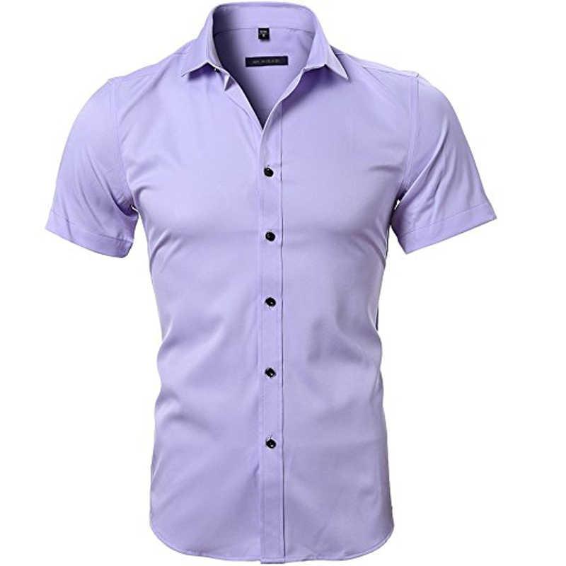 Мужские рубашки из бамбукового волокна, облегающие рубашки с коротким рукавом, повседневные рубашки на пуговицах, 2018 новые летние эластичные деловые рубашки для работы