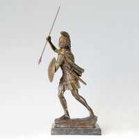 ATLIE BRONZES Antiques casting Bronze Statue Knight with spear and shield sculpture copper figurine office decoration