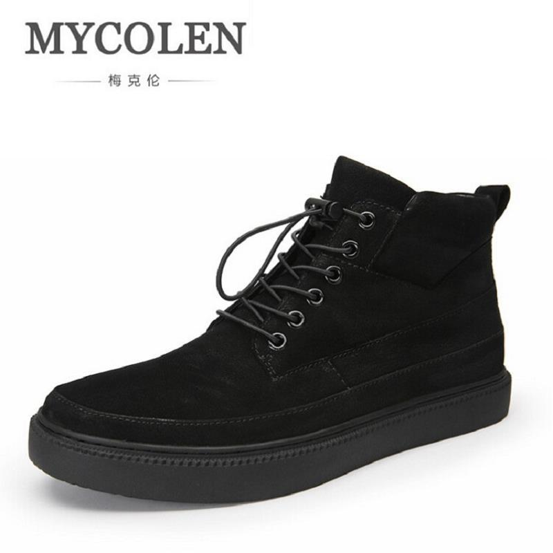 MYCOLEN Men High Top Winter Shoes Handmade Lace up Male Shoes Comfortable Genuine leather Men Casual Shoes Chaussures Homme mycolen casual shoes men genuine leather shoes soft comfortable male footwear men s shoes brand black loafers mocassin homme