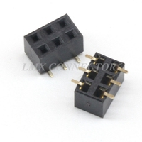 500PCS 2.54mm Female Pin Header Connector 2x3P Double Row SMT SMD Copper Gold Plated