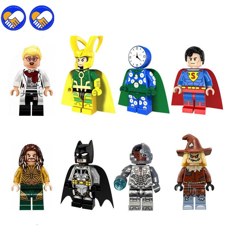 A Toy A Dream 80pcs 8068 Super Heroes Watchman Loki Superman Aquaman Batman Cyborg Scarecrow Building Blocks Children Toys