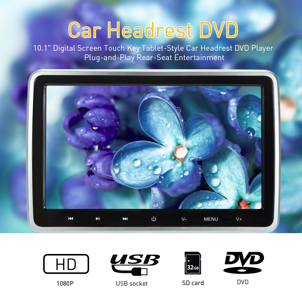 10 1 inch Digital Screen Touch Key Tablet Style Car Headrest DVD Player Plug and Play Rear Seat Entertainment 2019 New in Car Monitors from Automobiles Motorcycles