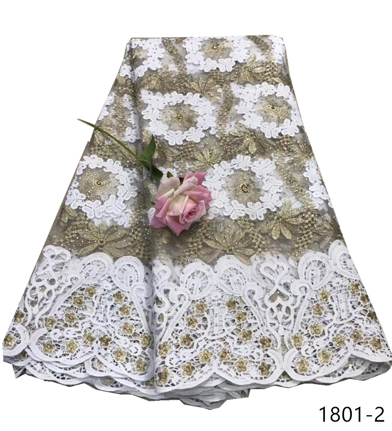 African Milk Silk Guipure Lace Fabric French Laces Fabric With Rhinestones Embroidered Nigerian Lace Fabrics For Wedding Dresses in Lace from Home Garden