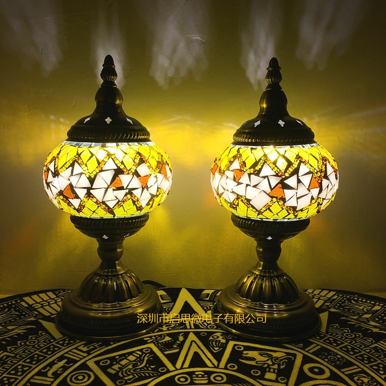 Mediterranean style Art Deco Turkish Mosaic Table Lamp Handcrafted mosaic Glass romantic bed light deco glass ваза для цветов стрекоза d04033 0240 0306al