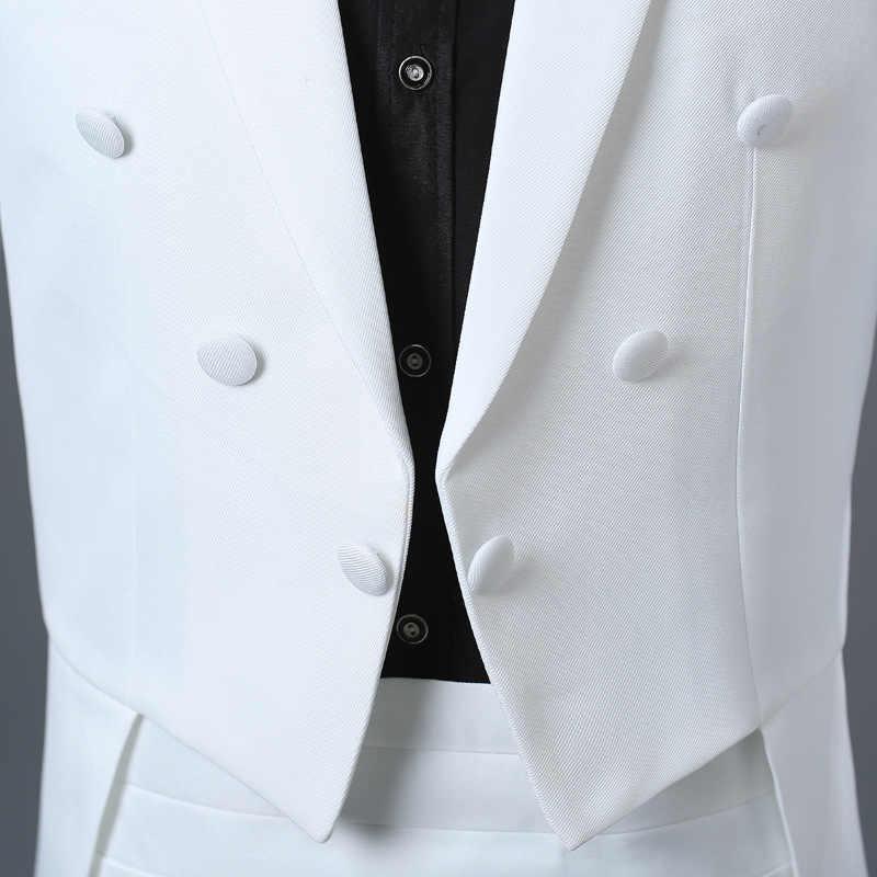 メンズホワイトエレガントウェディング新郎 4 ピースタキシードスーツ (ジャケット + パンツ + 果実の腐敗 + ネクタイ) ブランドスリム導体マジシャンショー Terno Masculino