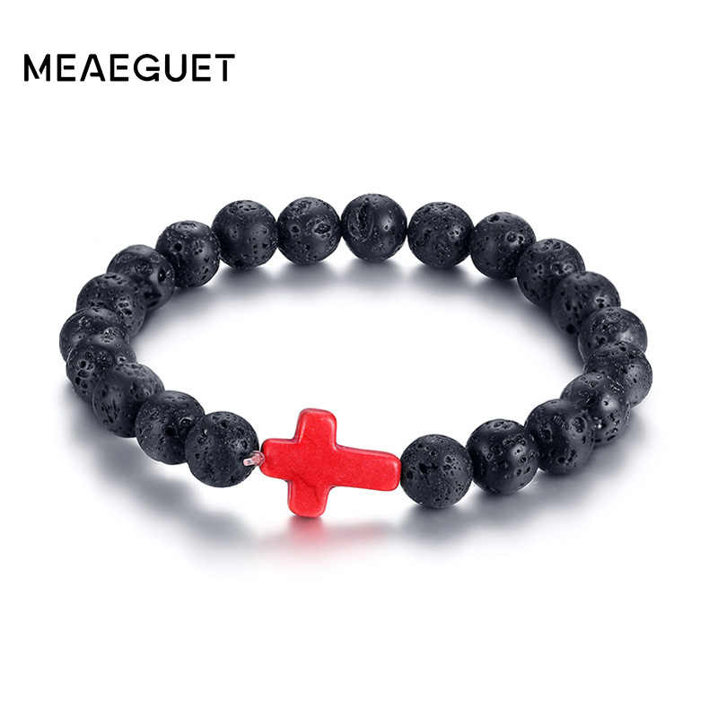 Meaeguet Elastic 9mm Lava Stone Beaded Bracelets for Women Men Lace-up Rope Chain Cross Charm Bracelet