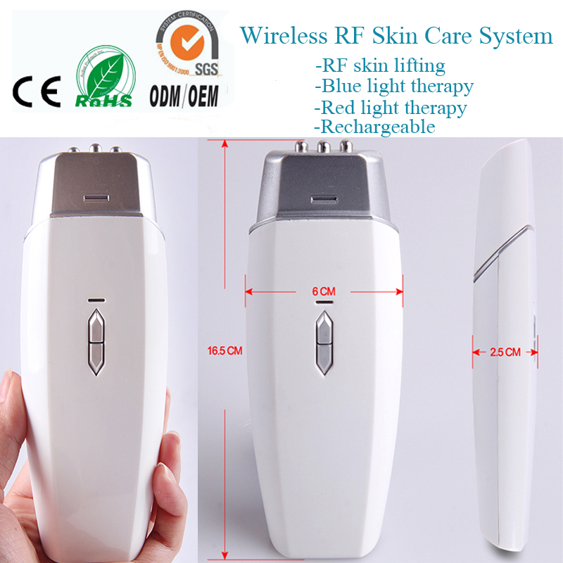 Wireless RF Radio Frequency Red Blue Heating Photon Therapy Anti Acne Wrinkle Treatment Skin Stimulation Tighten Beauty Device mini portable usb rechargeable ems rf radio frequency skin stimulation lifting tightening led photon rejuvenation beauty device