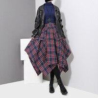 SuperAen Women Casual Skirt Temperament Wild Belt Loose Ladies Skirt Cotton Fashion Lattice High Waist Autumn