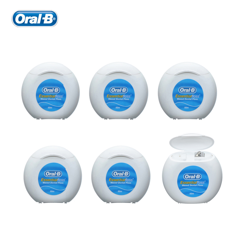 Oral B Essential Floss Waxed Dental Flosser Oral Hygiene Interdental Brush Teeth Stick Tooth Thread Pick Toothpicks 50m X 6 Pcs 1 kit dental orthodontic oral care interdental brush toothpick between teeth brush 3pcs kit570041