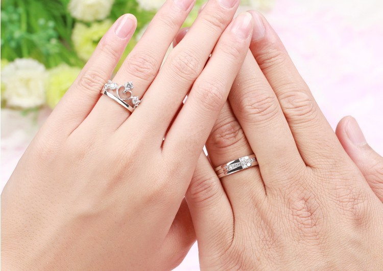 15 Off Wedding Rings For Men And Women Bijouterie Silver Cross Crown Cubic Zirconia Ring Jewelry Couple Uloveido J412 In From