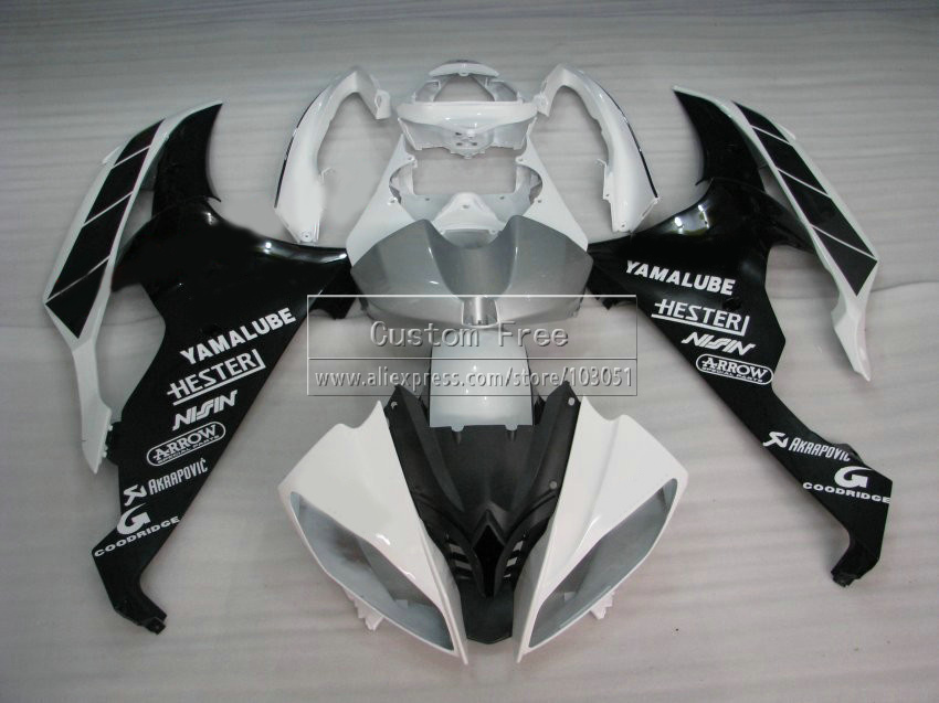 Injection mold plastic fairing kit For YAMAHA YZF R6 2008 -2013 2014 white black fairings set YZFR6 08 09 10 11-14 JL66 high tech and fashion electric product shell plastic mold