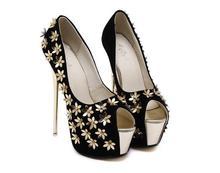 Frauen High Heels Schuhe 2016 Frühling Sommer Frauen Plattform Fisch Mund Schuhe Oxford 16 cm Blume Pumps Z384
