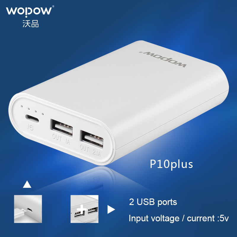 imágenes para WOPOW P10plus 10050 mAh Carga Rápida Salida de Energía Móvil Dual USB banco de la Energía de Batería Externa Portátil Para Teléfonos Tableta TC