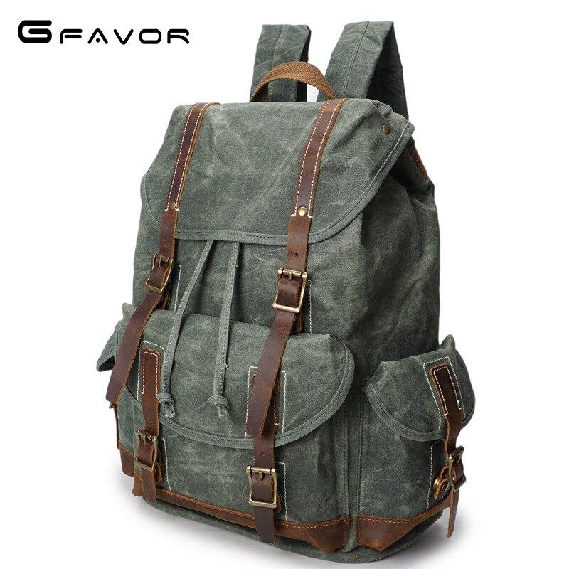 Vintage Oil Wax Canvas Backpack Men Waterproof Travel Shoulder Bag 2019 High Quality Fashion Student Bag Laptop Male Backpack