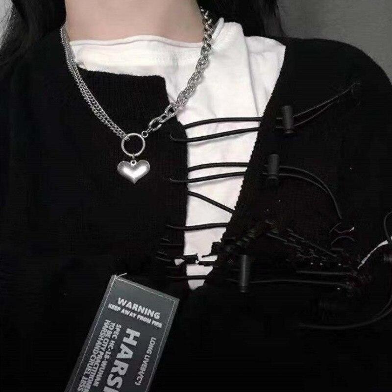 Punk Retro Heart Shape Chain Necklace Couple Fashion Streetwear Harajuku Pendant Necklaces