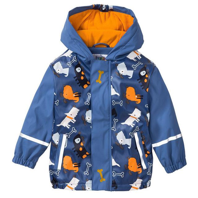 2018 Autumn Winter 2-7 Years Children PU Jackets Warm Waterproof Windbreak Outdoors Clothes Hooded Fleece Boys Raincoat Poncho