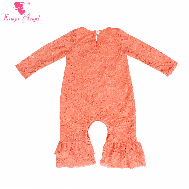 Image 4 - Kaiya Angel Newborn Girls Long Sleeve Peach Lace Romper Fashion  Kids Autumn Style Ruched Jumpsuit Factory Wholesale One PieceRompers