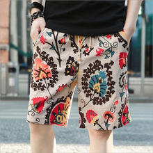 Summer fashion high quality pure cotton linen beach pants male quick-drying loose big yards 5 minute