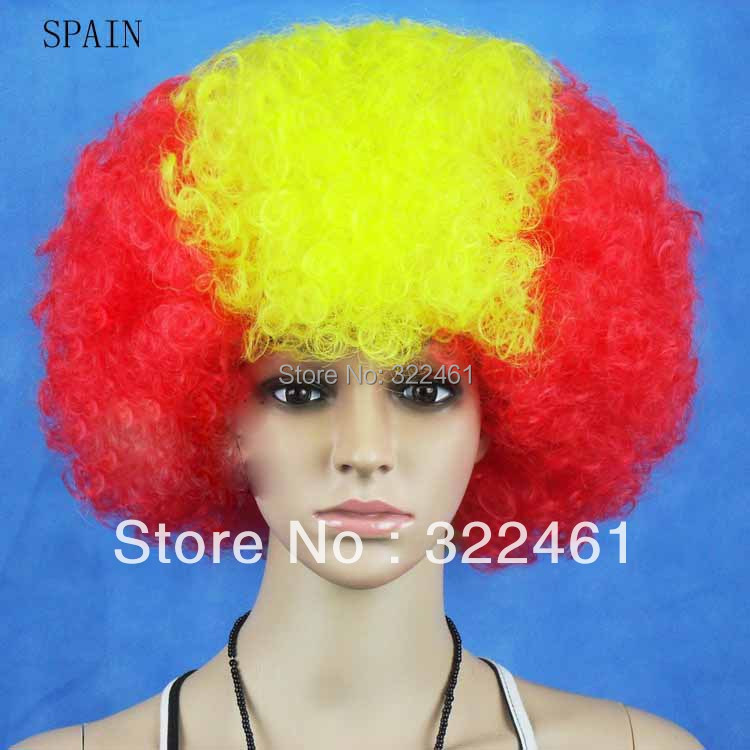 Spain Party Football Wig 2018 World cup 5pcs/lot football fan synthetic party wig ,national flag wigs,halloween cosplay/bob wigs