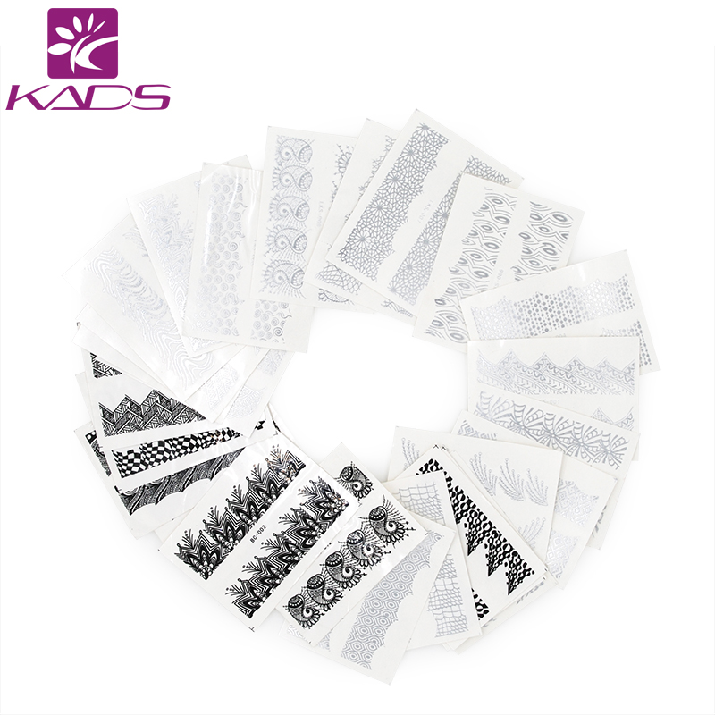 KADS New Arrival  35pcs/set  Mix Gold&Silver Pattern Sexy Black Lace Image Nail Art Sticker Manicure Nail Decorations Tools new arrival 35pcs mia