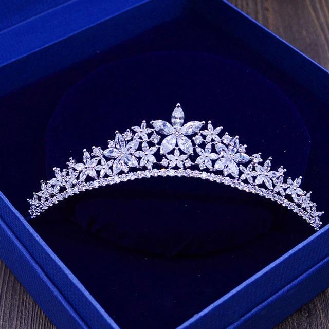 Cristales impresionantes Rhinestones Perlas de Cobre Cubic Zircon CZ Nupcial de la Reina Princesa Party Pageant Crown Tiara De La Boda Las Damas de Honor