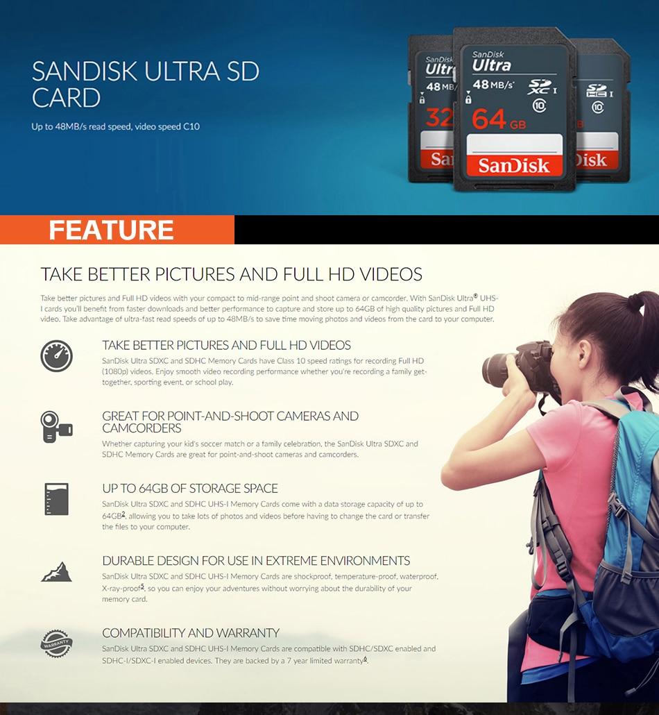 carte sd 32 gb ᐂSanDisk Ultra SDHC sd card 32GB Memory Card 16gb Class10 48mb/s