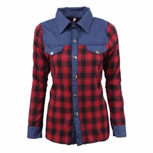 Denim Blue Jean Plaids Blouses Women Casual Spring Autumn Clothing Tops Single Breasted Red Plaids Shirts