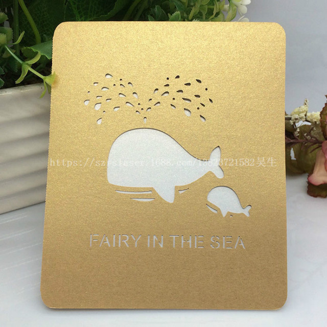 50 Pcs Laser Cutting Dolphin Blank Greeting Cards Postcards Gift Message Card Vintage Christmas Thanksgiving Card