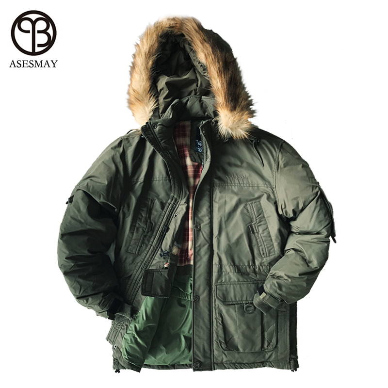 Asesmay 2017 брендовая одежда Для Мужчин's Пуховики и парки для мужчин Толщина зимняя куртка Для мужчин парка съемная подкладка Подпушка белая утка Подпушка куртка