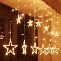 2 5m 138 LED Warm White Light 12 Twinkling Stars Curtain String Light For Christmas Fairy