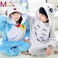 Niños Niños Franela Onesies Animal de la Historieta de Doraemon/Totoro Pijamas Del Partido de Cosplay Traje Gils Niños Pijamas Pijamas ropa de Dormir