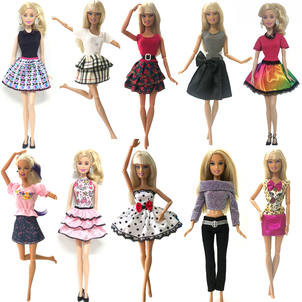 NK 10 Pcs  2019 Newest Princess Doll Outfit Beautiful Party Clothes Top Fashion Dress For Barbie Doll Best Girls' Gift Baby Toys