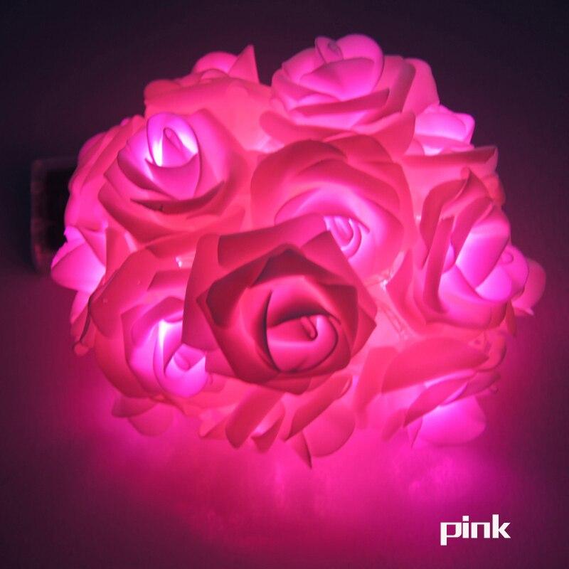 Garland 20pcs / set Rose Flower Fairy luces decorativas lampu tali - Pencahayaan perayaan - Foto 4