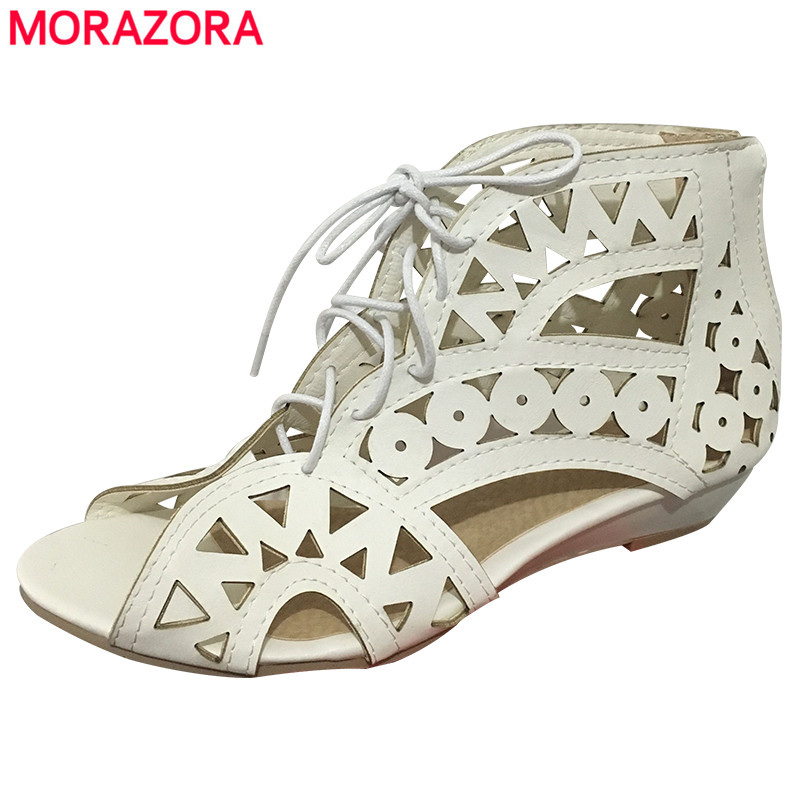 MORAZORA TAILLE 31-43 Nouveau 2018 mode découpes gladiateur sandales femmes sexy d'été coins bas talons Bohème plage chaussures femme