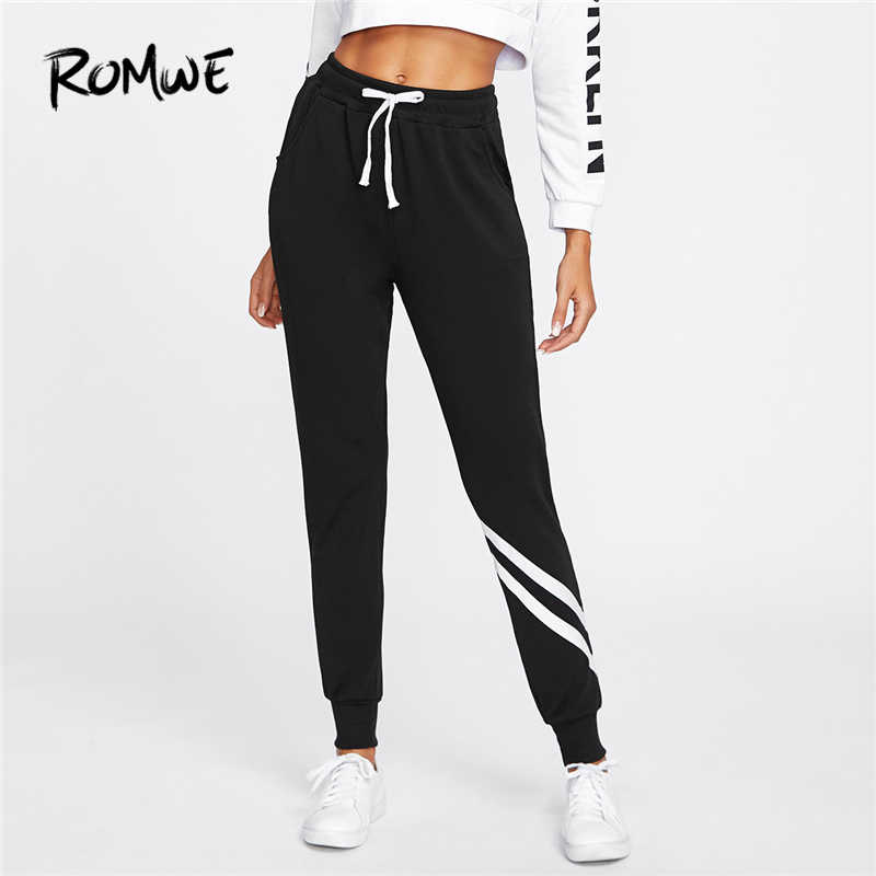 Romwe Sport Drawstring Waist Striped Trim Black Sweatpants Women Running Pants 2018 Autumn Mid Waist Long Sportswear Pants