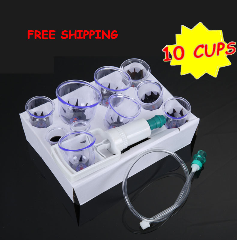 Cheap 10pcs hijama cups chinese vacuum cupping kit pull out a vacuum apparatus therapy relax massagers curve suction pumps лор п сила шестой
