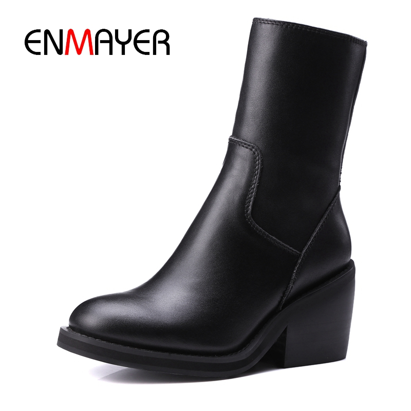 ENMAYER New fashion women zip square heel round toe mid-calf boots lady solid cow leather boots Size 34-39 ZYL810ENMAYER New fashion women zip square heel round toe mid-calf boots lady solid cow leather boots Size 34-39 ZYL810