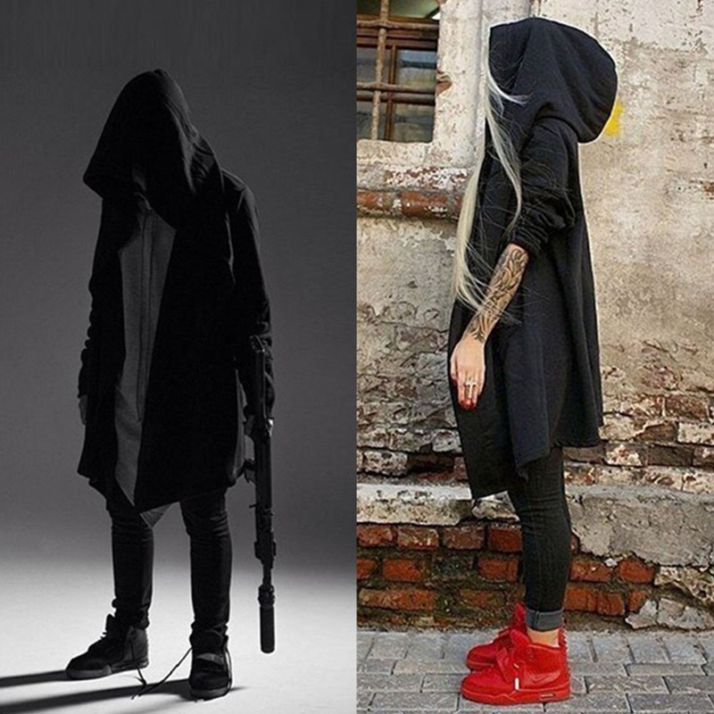 Male Goth Goths Bandage   Trench   Male Autumn and Winter Outerwear Black Novelty Punk Cloak Goth Belt Men Mens Cloaks Punk Coat Men