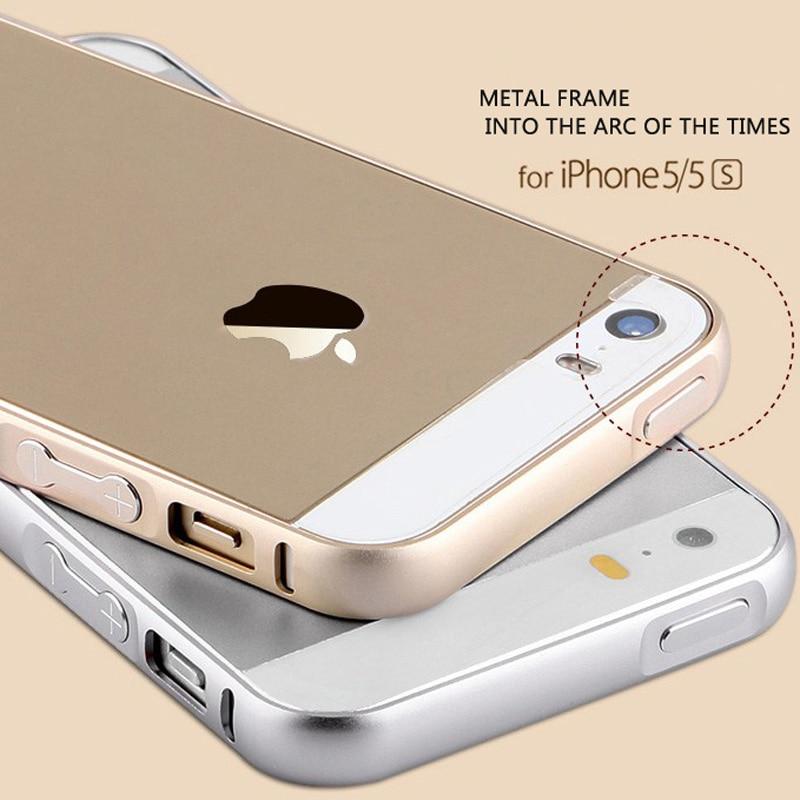 2016 Nouveau Pour iphone 5S cas En Métal En Aluminium + Acrylique Téléphone  cas pour iPhone 5S Accessoires étui de protection pour Apple iphone 5 5S ac30f9048e6