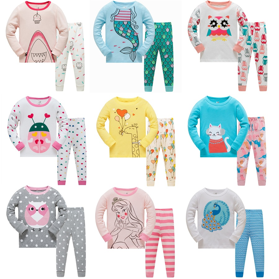 Animal Baby Girls   Pajamas   Suits 3 4 5 6 7 8 years Children Clothes   Sets   Girl Clothes   sets   T-Shirts Pant Sleepwear 100% Cotton