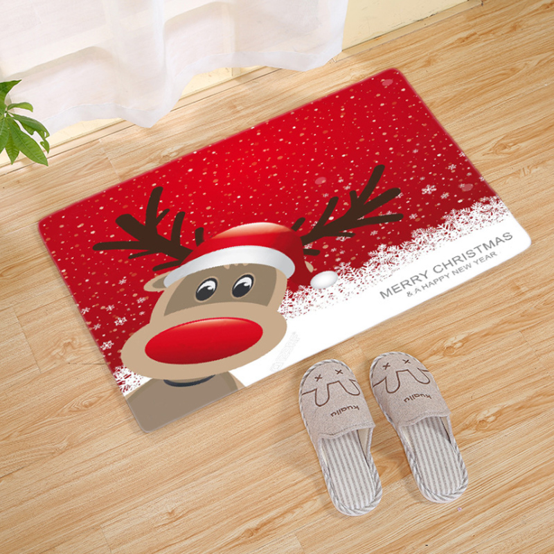 Xmas Santa Claus Party Favors Door Mat Flannel Outdoor Christmas Home Decoration
