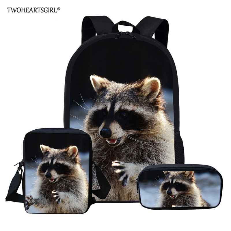 Twoheartsgirl Raccoon School Bag For Girl Boys Schoolbag Cute Kids Backpacks Children's Backpack Lovely Book Bag Mochila Escolar