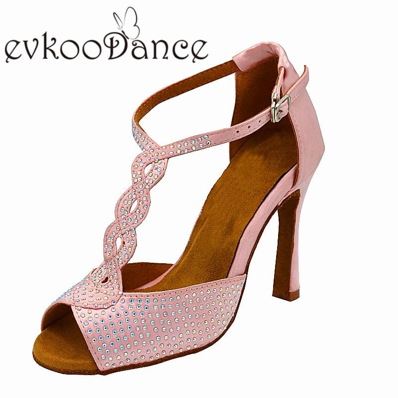 Pink Satin With Rhinostone Size US 4 12 High Heel 10 cm Open toe Professional Latin