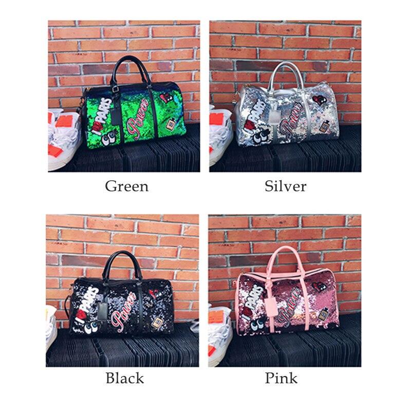 Image 4 - Wobag Fashion Women Travel Bag Casual Sequins Letters Man Shoulder Diagonal Handbag Large Capacity Black/Pink/Silver OutdoorTravel Bags   -