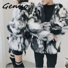 Luxury Winter Men Long Faux Fur Coat 2019 Warm Thick Fox Fur Jacket Black/White Contrast Color Fur Outerwear Casual Parka Coat