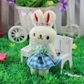 12 unids/lote inglaterra compruebe MINI conejo conejito de peluche de juguete para ramos material de envase regalo del banquete de boda