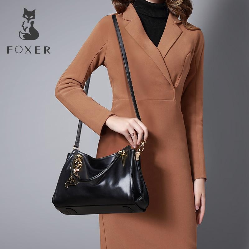 все цены на FOXER Brand Women Genuine Leather Bag Handbags Fashion Female Luxury Tote Cowhide Shoulder Bag
