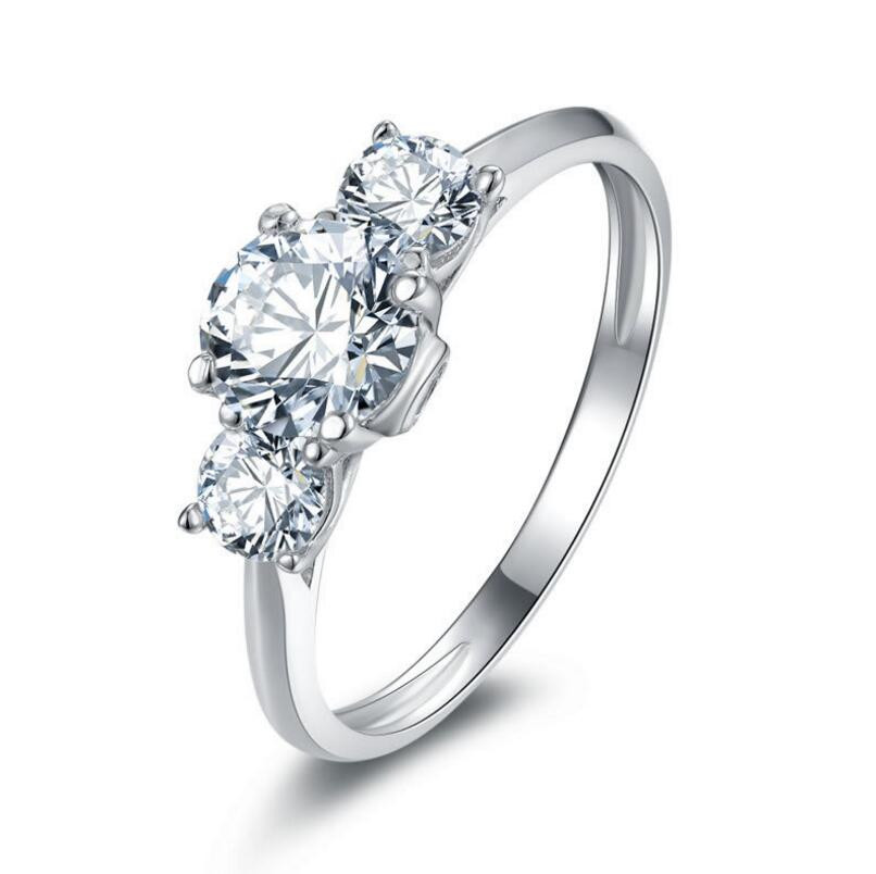 0.8 carat Sterling silver jewelry 925 sterling silver with diamond ring customized diamond ring (XJ)