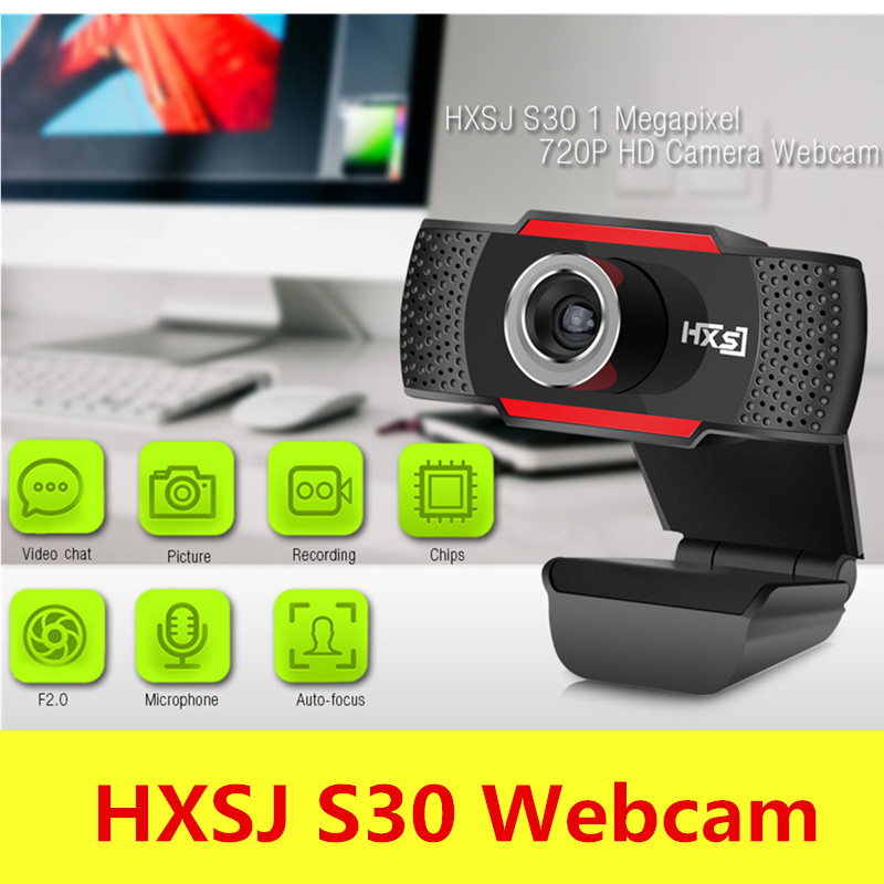 Original HXSJ S30 1 Megapixel HD Camera Webcam With Microphone Clip-On 30 Degree USB 2.0 For Windows Android TV CMOS