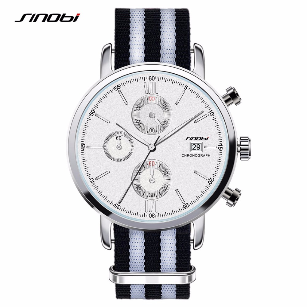 2016 New Sinobi Brand Men Nylon Casual Sport Watch Male Waterproof Calendar Watches Fashion Business Wristwatch Clock Hours np shock resistant waterproof watch men 2016 new nylon sport watches ultra slim watchcase men s fashion clock large white dial